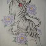 白虎と牡丹