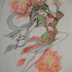 天女と蓮の花